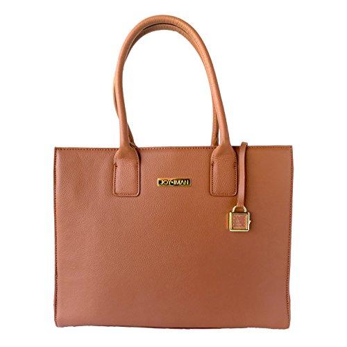 Rich Cognac (JOY & IMAN Genuine Leather Hollywood Glamour Handbag Tote - Rich Cognac)