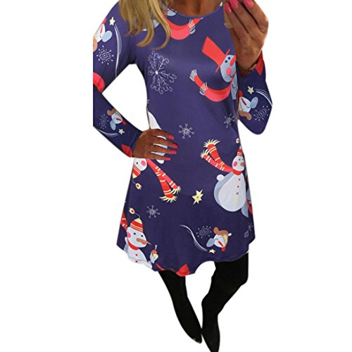 GBSELL Women Ladies Christmas Print Long Sleeve Shirt Dress Casual Party Evening