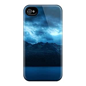 Durable Protector Case Cover With Coludy Mountains Nature Hot Design For Iphone 4/4s