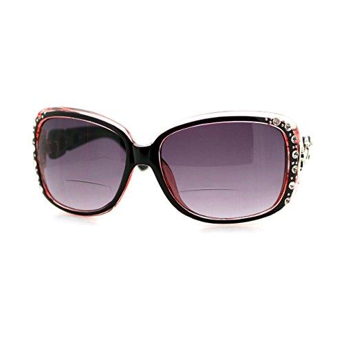 Womens Bifocal Lens Sunglasses Oversized Square Rhinestone Frame (Pink, (Bifocal Sunglasses)