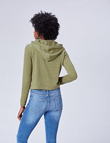 FIND Sudadera Con Capucha y Cremallera para Mujer Verde (Khaki)