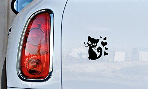 Cat Cute Heart Cartoon Car Vinyl Sticker Decal Bumper Sticker for Auto Cars Trucks Windshield Custom Walls Windows Ipad Macbook Laptop and More (BLACK)