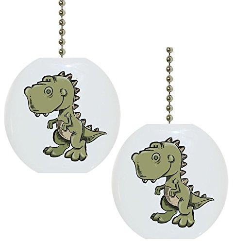 Set of 2 Baby T-rex Dinosaur Dino Solid Ceramic Fan Pulls