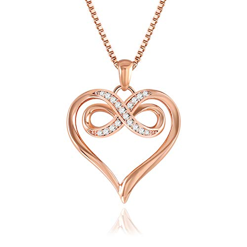 QLEESI Love Heart Pendant Necklace for Women Girls - Cubic Zirconia Crystals Rose Gold Plated Fashion & I Love You necklace Pendant for Wedding, Wife, Daughter, Birthday, Gifts for Mothers Day ()