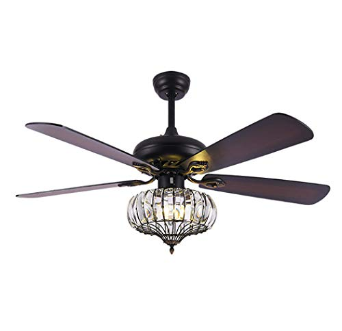 (RuiYeYe 52 Inch American Fan Chandelier Crystal Wood Leaf Fan Light 3 Level Speed Control and Reversible Ceiling Fan Light Restaurant Bedroom Living Room Matte Black)
