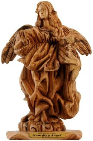 Guardian Angel Olive Wood Statue – Museum Quality 26x14cm or10.3 inches high