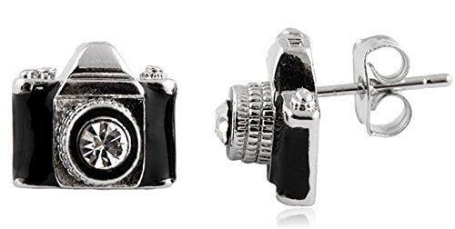 Silvertone with Black Camera with Center Stone Lens Stud Earrings (E-271)