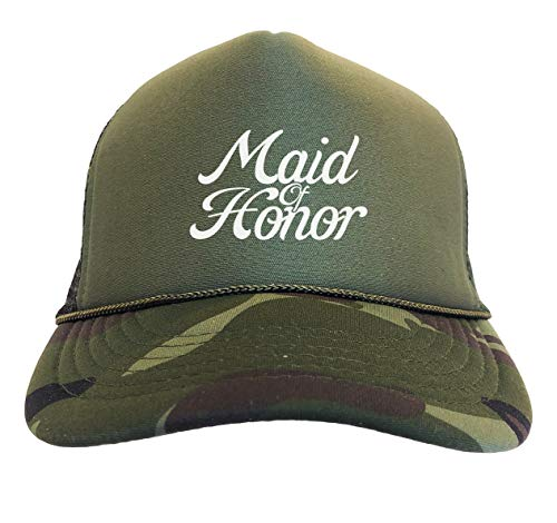 Tcombo Maid of Honor - Bridal Party Marriage Camoflauge Trucker Hat (Woodland Camo)