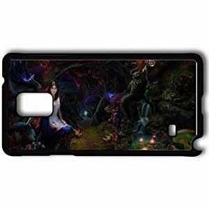 Personalized Samsung Note 4 Cell phone Case/Cover Skin Art Girl Cat Cheshire Forest Mushrooms Black