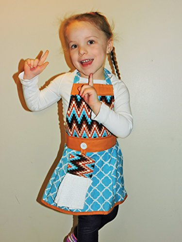 Apron by The Bedford Life: Kids / Girls S M L (Ages 2-13) Brown, rust and bright blue abstract chevron with rust color trim. 100% Cotton. Mommy & Daughter (Rust Trim)