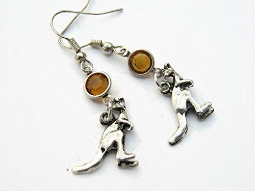 Kangaroo Birthstone Earrings, Personalized Marsupial Earrings, Australian Animal Earrings, Wild (Halloween Earrings Australia)