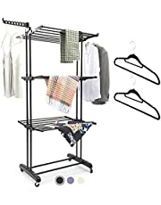 MIZGI Clothes Drying Rack,3 Tier Rolling Dryer Clothes Hanger,Collapsible Garment Laundry Rack with Foldable Wings and Casters Indoor/Outdoor,Large Standing Rack Stainless Steel Hanging Rods(Black)