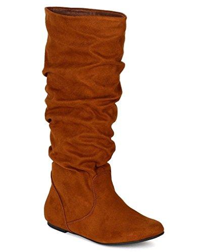 Soda Women's Zuluu Slouchy Faux Leather Knee HIgh