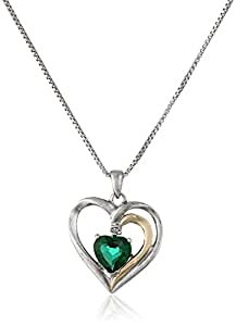 Sterling Silver and 14k Gold Created Emerald and Diamond Heart Pendant Necklace (.007 cttw, I-J Color, I2-I3 Clarity), 18""