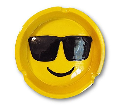 Smiley Face With Sunglasses Emoji Design Polyresin Ashtray