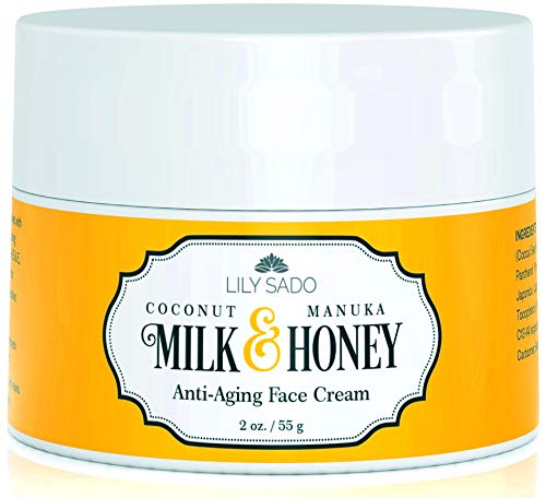 Coconut Milk and Manuka Honey Natural Face Moisturizer - Non Greasy Daily Facial Cream with Aloe + Cocoa Butter for All Skin Types - Combats Wrinkles, Fine Lines, Blemishes & Eczema - Boosts Collagen