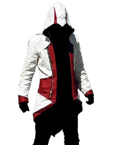 TEENTAGE Assassin's Creed 3 Connor Kenway Hoodie Jacket, White and Red, Kid...