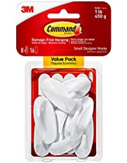 Command Small Designer Hooks, White, 8-Hooks, 16-Strips, Organize Damage-Free