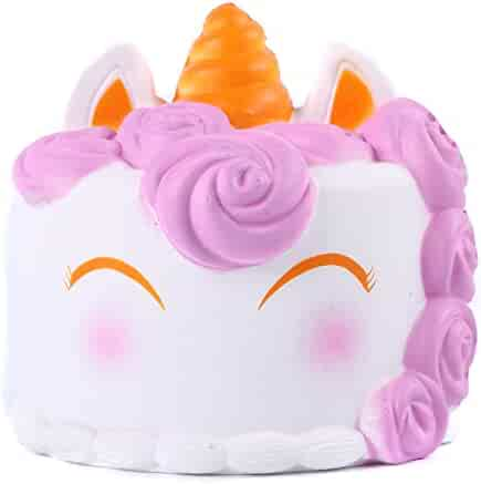 Aolige Squishies Slow Rising Jumbo Kawaii Cute White Unicorn Mousse Cake Creamy Scent for Kids Party Toys Stress Reliever Toy