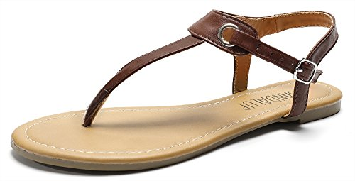 SANDALUP Women's Claire Thong Flat Sandals with Buckle Brown Size 10