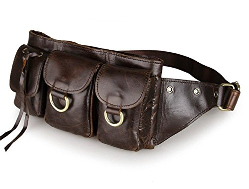 Tom Clovers Women's Men's Leather Waist Pack Belt Pouch Fanny Bag Hip Purse Brown