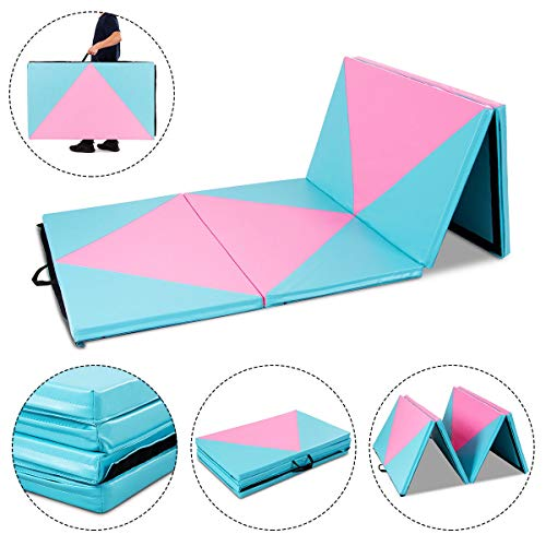 Gymnastics Exercise Mat 4'x10'x2 Thick Folding Panel Aerobics Gym Fitness with Ebook