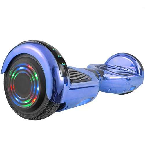 - WorryFree Gadgets Chrome Self-Balancing Hoverboard w/Bluetooth Speaker, UL2272 Certified - LED Lights (Blue)