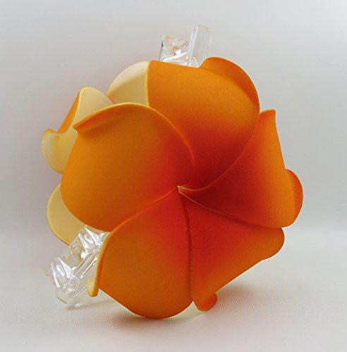 Hawaiian Plumeria Foam Flower Hair Claw Choose Color (09 Orange)