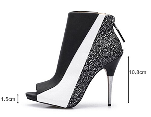 CAMSSOO Booties Women Ankle Heels Sexy Peep Toe Platform Pumps Shoes Black White exclusive sale online discount browse a750jk