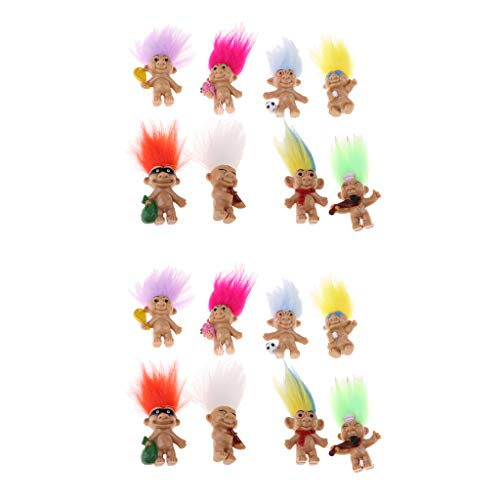 Fityle Vintage 16 Pieces Colorful Lucky Troll Doll Leprocauns Dollhouse Mini Figures Toy - Party Favors, Collections, Arts and Crafts (Troll Doll Bingo)