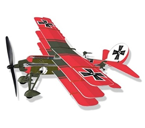 LYONAEEC Flyable Historic Rubber Band Toy Model Fokker Dr. 1 (Red Baron)