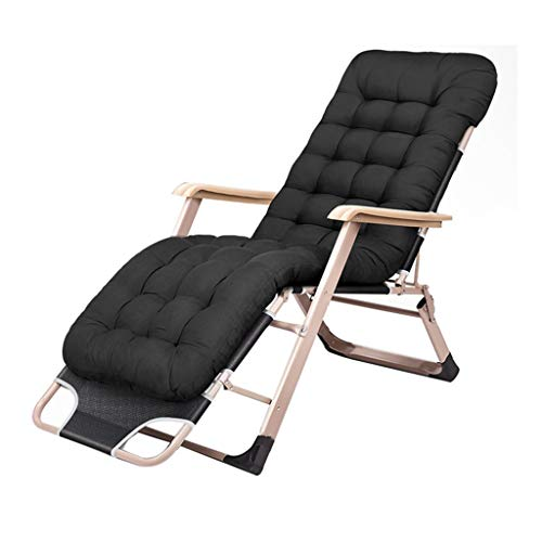 CGF-Lounge Chairs Folding Recliners Folding Lazy Casual Reclining Chair Zero Gravity Portable Adult Beach Balcony Garden Bedroom Black ()