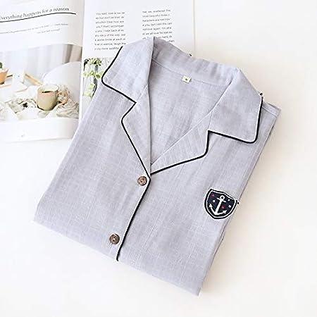 Z.L.FFLZ Ropa de Dormir Establece Pijama Hombre Dormir Hombre 100% algodón Casual Male Manga Larga acogedora Verano Pijamas de los Hombres (Color : Gris, Size : M): Amazon.es: Hogar