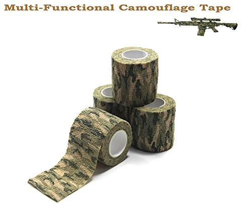 Fairbridge Multi-Use Camouflage Tape Self-adhesive Protective Wrap(4 PACK!!) 4.5Meter Non-woven Elastic Fabric Stealth Camo Tape Tactical Stretch Bandage for Military Hunting Gear Camping Flashlight