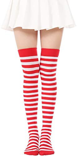 JASMINO Over Knee Long Striped Stockings Saint Patrick's Day Socks Costume Thigh High Tights(01 Red White Tights 2)]()