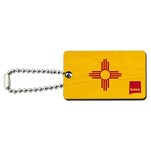 New Mexico NM Home State Wood Wooden Rectangle Key Chain - - Key Rectangle Tag