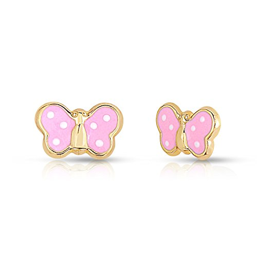 Baby Girls 14k Yellow Gold Tiny Butterfly Stud Earring with Enamel in Secure Safety Screw-backs (14k Baby Box)