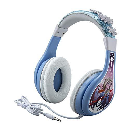 eKids Frozen 2 Kids Headphones, Adjustable Headband, Stereo Sound, 3.5Mm Jack, Wired Headphones for Kids, Tangle-Free, Volume Control Childrens Headphones Over Ear School Home (Hassle Free Packaging)