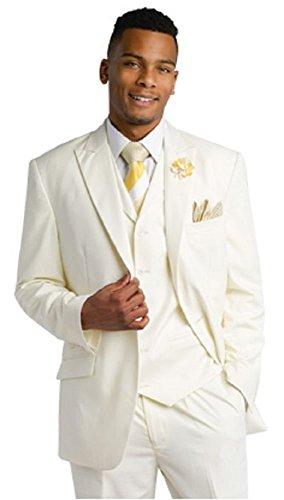 EJ Samuel Tailored Fit Cream 3 Piece Mens Suits M2683 Suit For Men (46 L) Long Man Jacket by E. J. Samuel