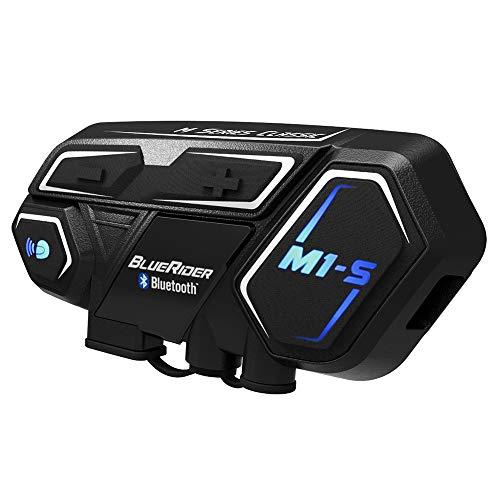 (BIBENE Motorcycle Bluetooth 4.1 Intercom BlueRider M1-S Helmet Communication System, Wireless Universal Helmet Clamp Kit with Mesh Intercom Headset, Up to 4 Riders 2000m for Group Motorbike)