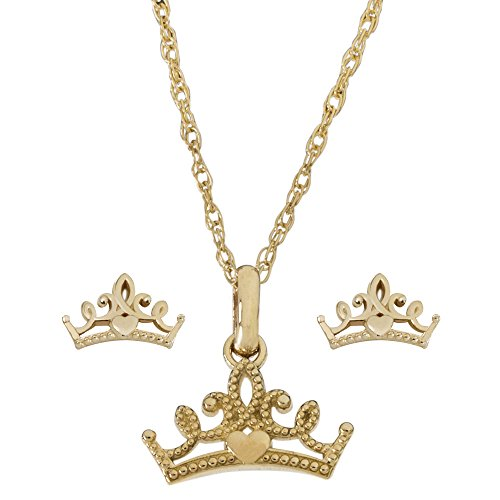 """Disney Princess Jewelry for Women and Girls, 14K Yellow Gold Tiara Pendant Necklace and Stud Earrings Set, 18"""" Chain"""