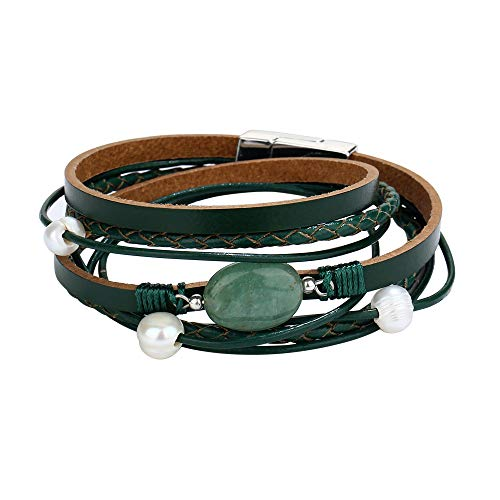 FINETOO Green Natural Stone Wrap Bracelet Pearl Bracelet Multi-Layer Leather Bracelet Crystal Rhinestone Braided Wrap Cuff Bobo Bangle - with Alloy Magnetic Clasp Handmade Jewelry for Women,Girl Gift