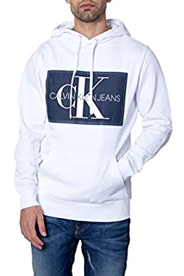 Calvin Klein Jeans Man Hoodie Chambray Monogram Hoodie Patch j30j312453 m White
