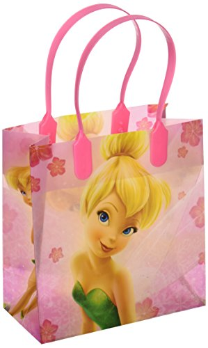 Disney Tinkerbell Small Plastic Goodie Gift Favor Treat Tote Bags (12ct) by Unique ()