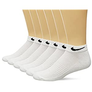 NIKE Unisex Performance Cushion Low Rise Socks with Bag (6 Pairs), White/Black, Medium