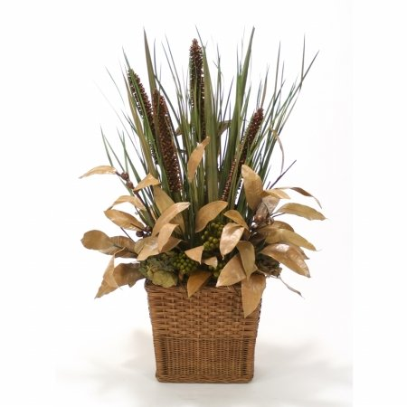 UPC 643749211971, Distinctive Designs International 9837 Fall Natural Grasses & Cierus Stalks in Small Rectangle Floor Basket
