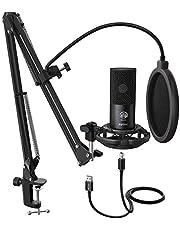 FIFINE Studio condensator, USB-microfoon, computer, pc-microfoon, kit met verstelbare schaararm, standaard, shock mount voor instrumenten, voice overs, opname, podcasting, YouTube, karaoke gaming streaming-T669