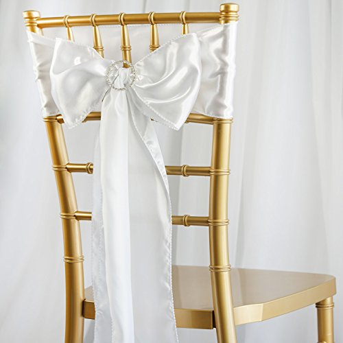 BalsaCircle 50 White Satin Chair Sashes Bows Ties for Wedding Party Ceremony Reception Event Decorations Supplies Cheap
