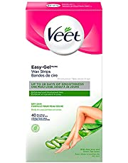 Veet Easy-Gel, Wax Strips for Body & Legs + Dry Skin, 40 wax strips + 4 Perfect Finish wipes