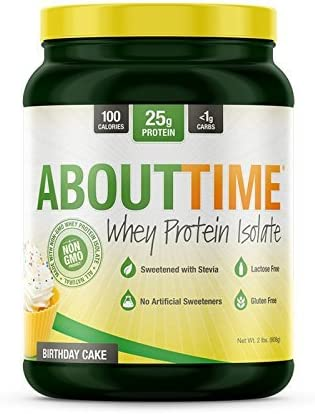 SDC Nutrition About Time Whey Protein Isolate, Birthday Cake, 2 Pound